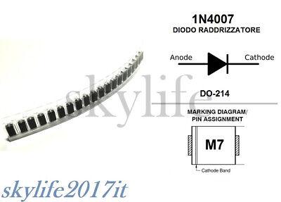 10X M7 DIODO PONTE RADDRIZZATORE 1000V 1A 1n4007 SMD