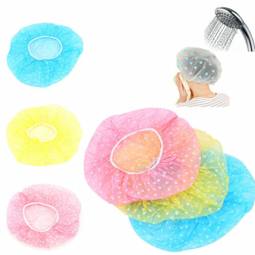 1 of 1 - 3Pcs Waterproof Women Elastic Plastic Dot Shower Bathing Salon Hair Care Hat Cap