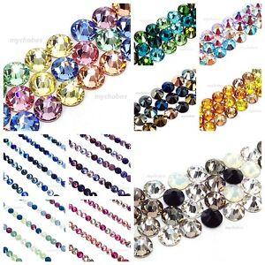 144-Mixed-Colors-Swarovski-2058-2088-Crystal-Flatback-nail-art-Pick-Size-Colour