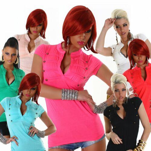 Shirt V-Ausschnitt elegant Einheits-Größe 32 34 36 38 T-Shirt Top Damen Mode