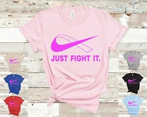 Just-Fight-It-T-Shirt-PINK-Ribbon-Crossover-logo-Breast-Cancer-October-Survivor