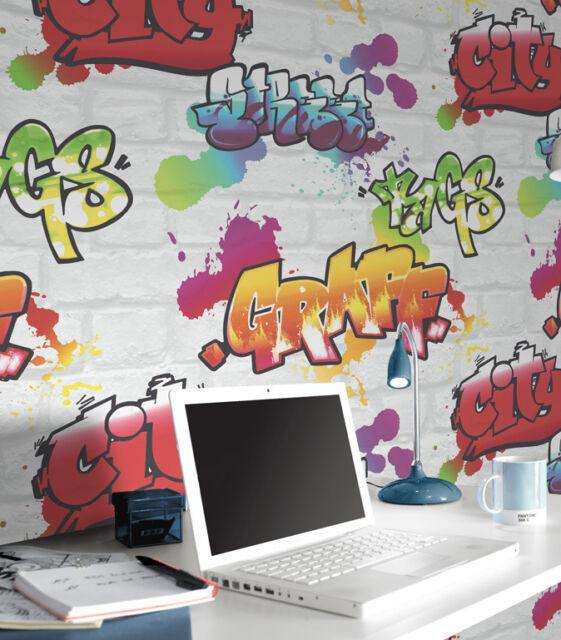 WHITE GRAFFITI BRICK WALL EFFECT FEATURE TEENAGE QUALITY WALLPAPER 272901 RASCH