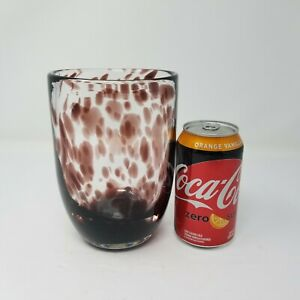 Vintage-Homco-Hand-Blown-Art-Glass-Vase-Speckled-Prune-Thick-Chunky-Vase