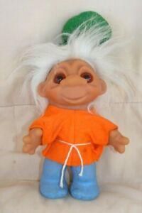 Vintage-Troll-Doll-8-034-1980-DAM-Orange-Blue-Green-White-hair-Denmark