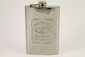 Jack Daniel/'s 9oz Stainless Steel /& Leather Flask Old No.7 Tennessee Whiskey