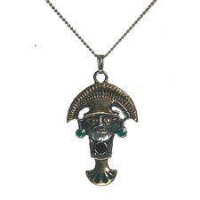 Sami Tumi Good Luck Gold Axe Tone Enamel Inca Achala Pendant Necklace IA06