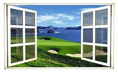 "24"" Window Scape Instant View Golf Course Ocean #2 Wall Sticker Decal Graphic"