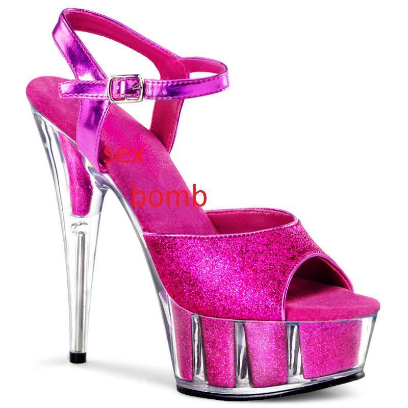 SEXY sandali rosado cinturino plateau GLITTER TACCO TACCO TACCO 15 dal 35 a 44 fashion GLAMOUR  Venta en línea precio bajo descuento