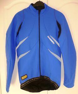 Shimano-Men-039-s-Premium-Windflex-Gold-Cycling-Jacket-Olympian-Blue-Black-Sz-Med