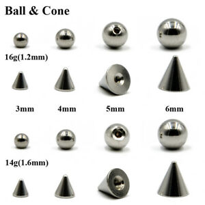 Body-Jewelry-Piercing-Replacement-Ball-Stainless-Steel-Ball-amp-Cone-For-14g-16g