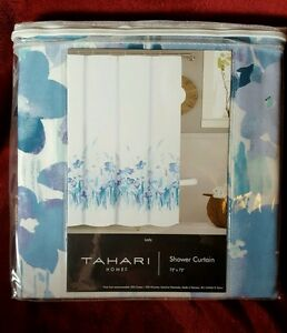 Image Is Loading Tahari Shower Curtain LADY Floral Blue White Water