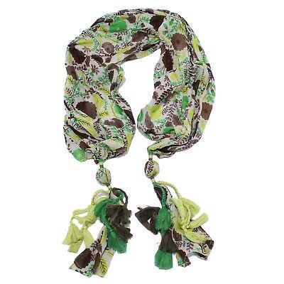0546y Sciarpa Bimba Girl Lulu' Cotton/silk Scarf Green/brown/white Alta Resilienza