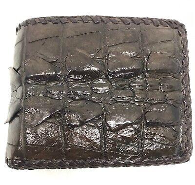 Brown Genuine Crocodile Alligator Tail Skin Leather Mens Bifold Wallet