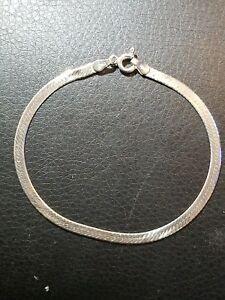 Image Is Loading 925 Sterling Silver Herringbone Bracelet 7 25 034
