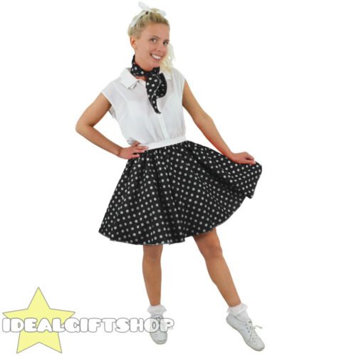 SHORT POLKA DOT SKIRT FANCY DRESS ROCK N ROLL COSTUME 1960S STANDARD PLUS SIZE