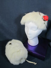 Fur Hat Muff Childs Girls White Rabbit Rose Accent  Vtg 1950 Set of 2 Holiday