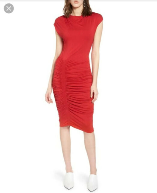 Halogen Nordstrom Womens Red Ruched Sheath Dress Cap Sleeve Size Medium