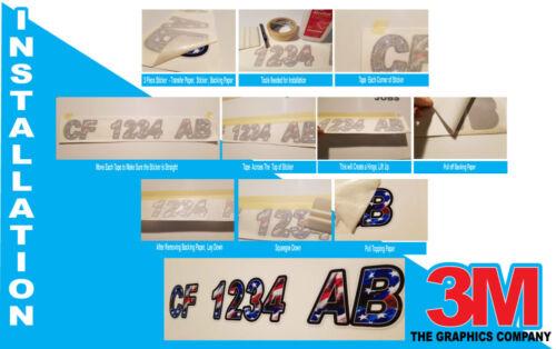 Wood Plank Custom Boat Registration Numbers Decals Vinyl Lettering Stickers