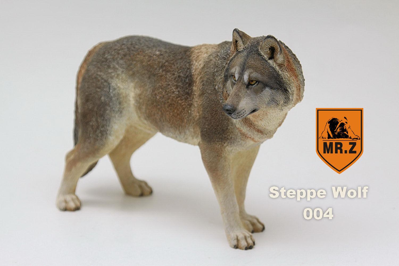 Mr. z 7 bis 6 steppe wolf - 004 - simulation der spielzeug - harz sibirischen wolf - modell