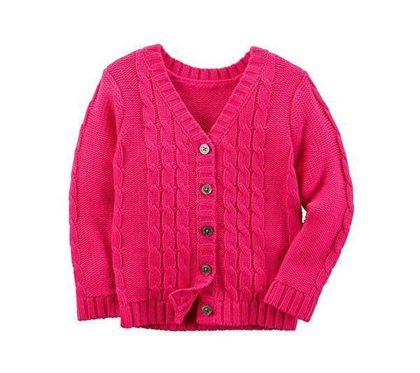 071454d07 Carter s Bright Hot Pink Cable Cardigan Sweater Toddler Girl Size 2t ...