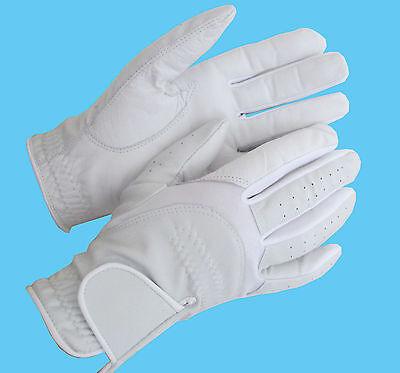 Ryda Ladies White Leather Dressage Horse Riding Gloves Small Medium Large