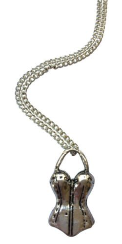 """18/"""" Silver Plated Chain Burlesque Corset Necklace"""