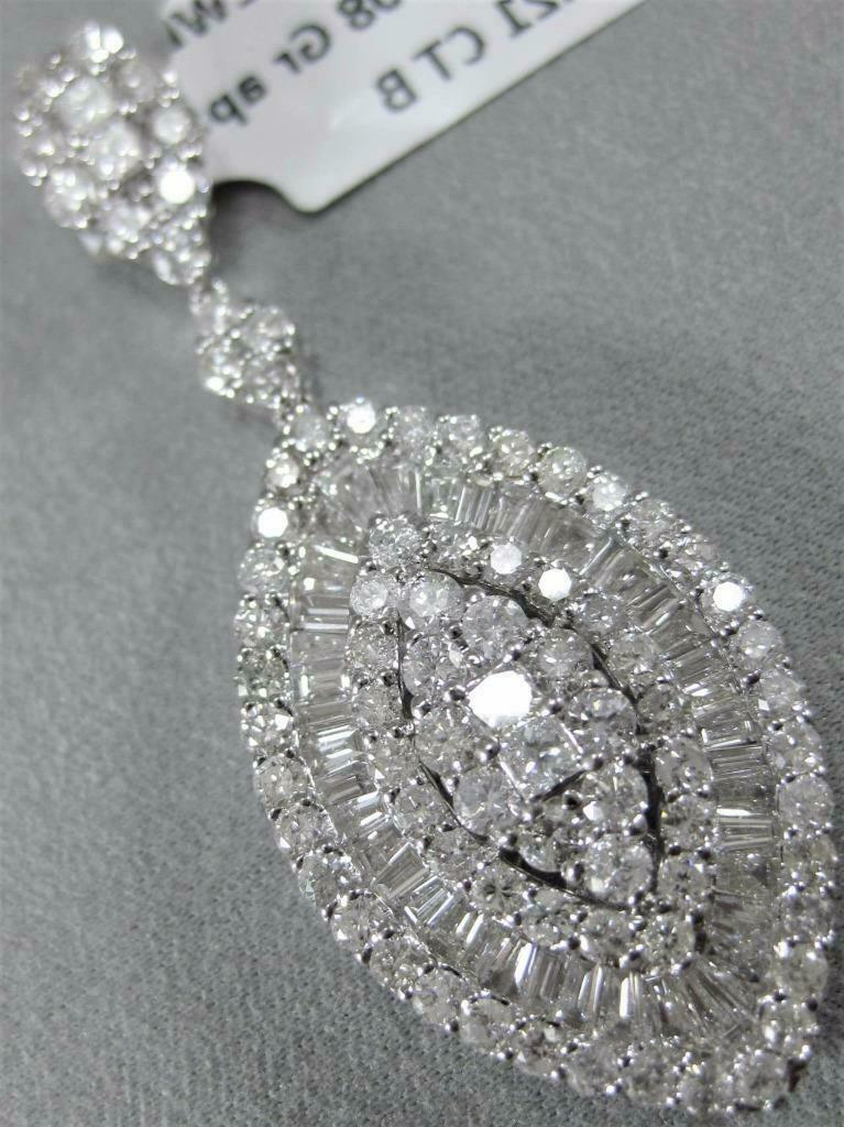 MODERN 3.21CTW PAVE DIAMOND 18K W gold HANGING MARQUISE CLUSTER PENDANT  DP0621W