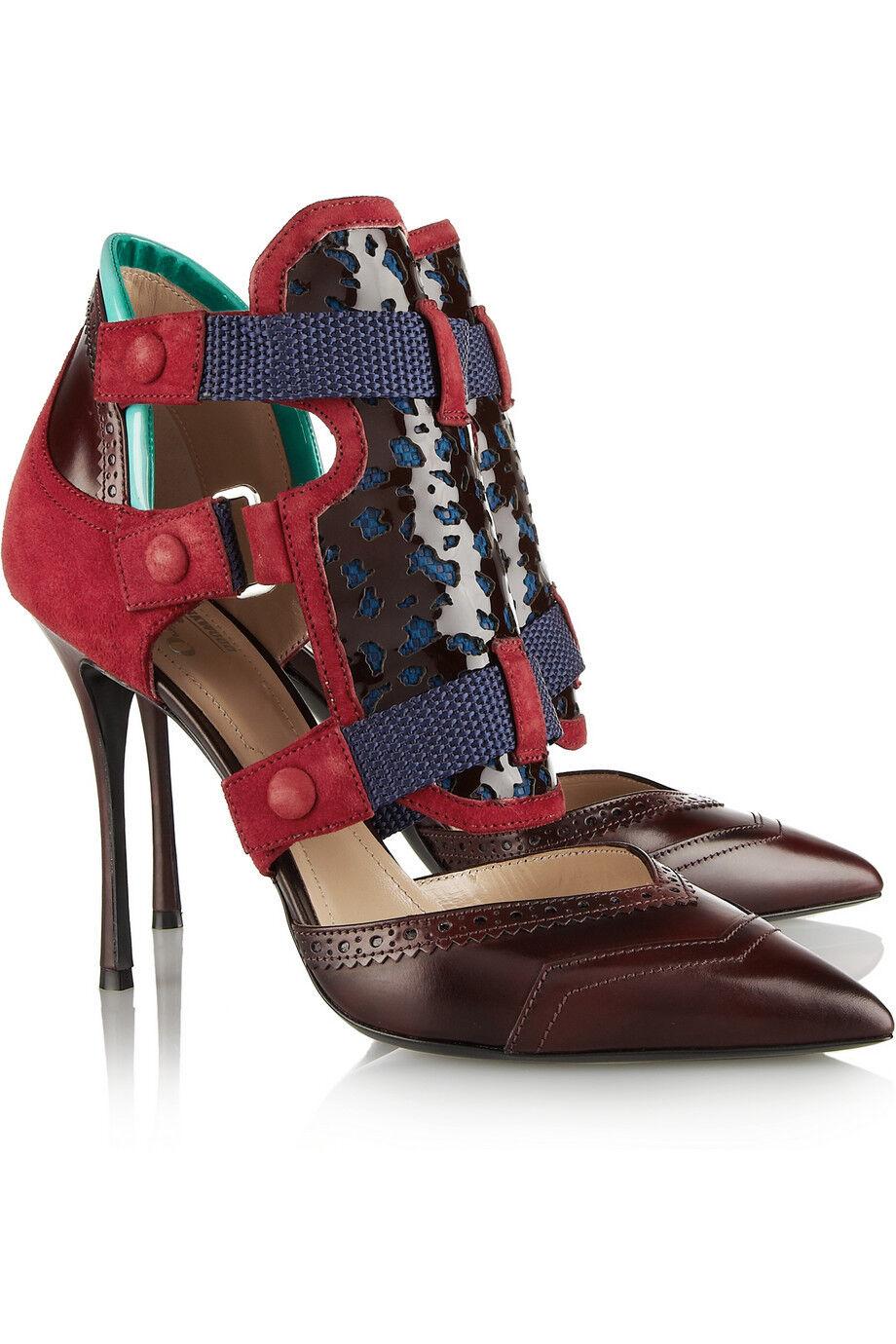 Nicholas Kirkwood X Peter Pilotto Foncé Rouge Oxford Chaussures Plates Plates Plates Neuf a2f193