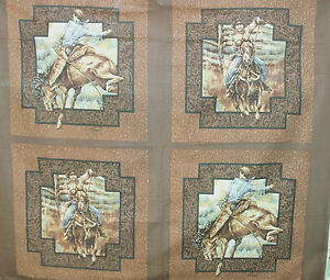 1-Yd-Western-Cowboy-Quilt-Fabric-Pillow-Panel-Rodeo-Rider-Brown-Woven-Frame-Flaw