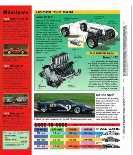 1991 JAGUAR XJR-15 Brochure XJR15 Racing SPEC SHEET