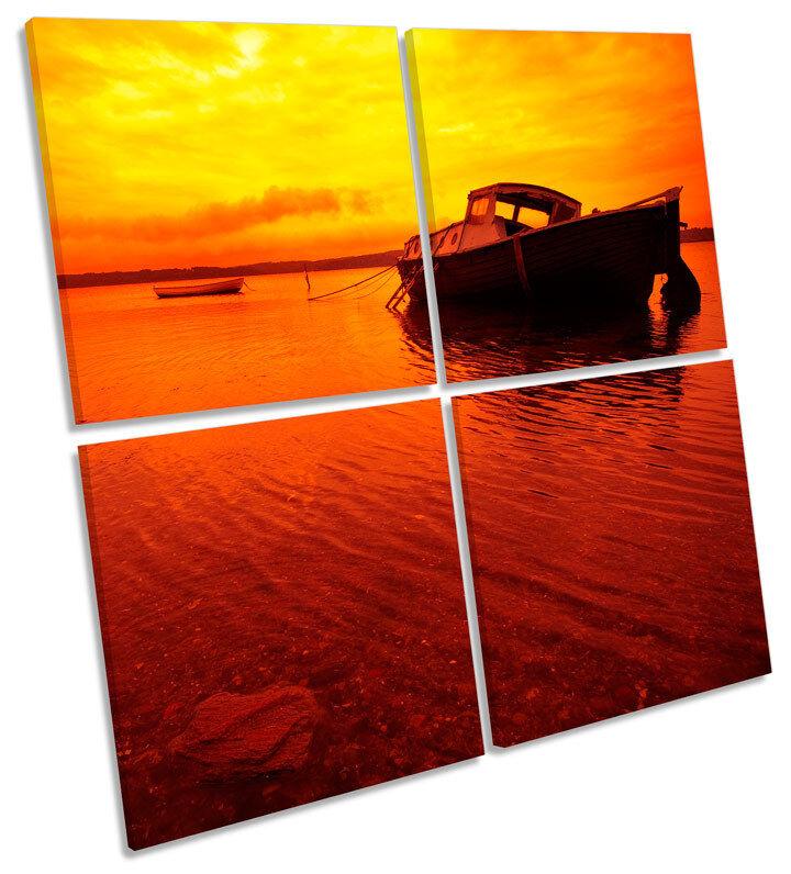 Sunset Puerto rojo Barco MULTI LONA pa rojo Puerto  arte Foto Cuadrado 38a0fe