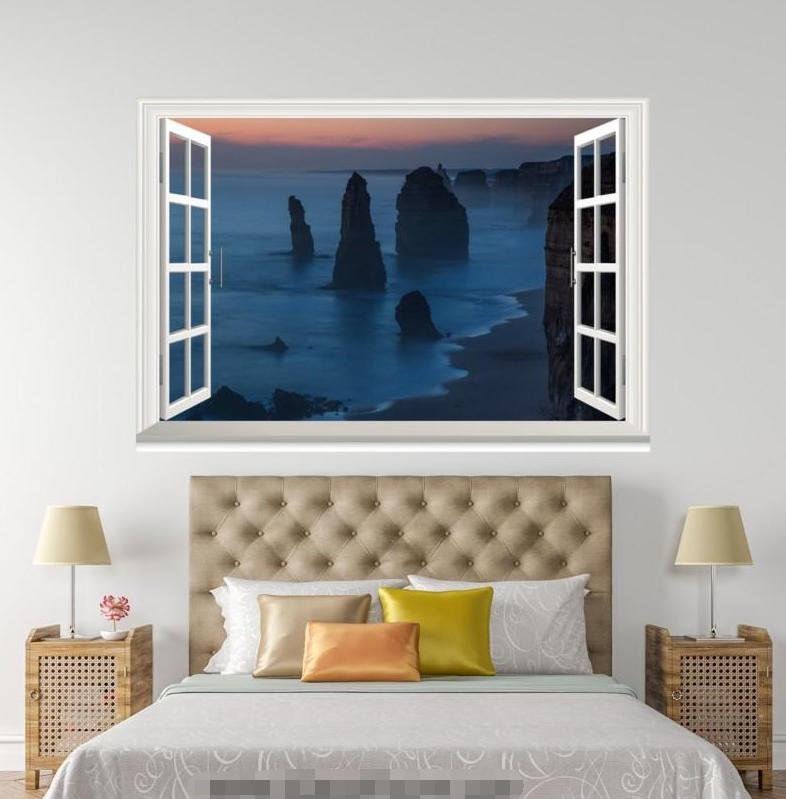 3D Night Lake 4121 Open Windows WallPaper Murals Wall Print Decal Deco AJ Summer