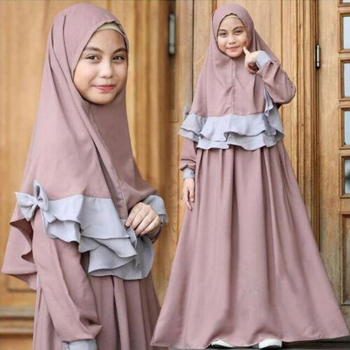Girls Muslim Kids Prayer Long Dress Hijab Set Kaftan Arab Abaya Jilbab Clothes