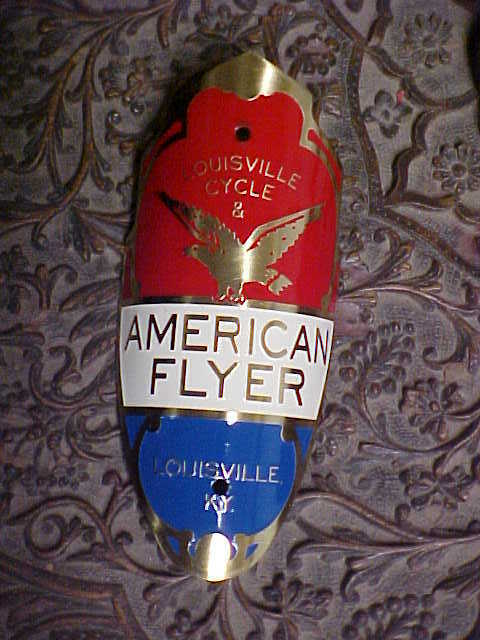 American Flyer Shield Bicycle Badge Emblem 1940s - 1950s ACID ETCHED Brass