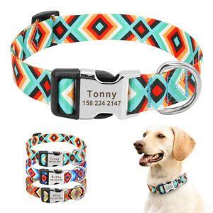 Fashion-Nylon-Personalised-Dog-Collars-Pet-Puppy-Name-ID-Engraved-Small-Large