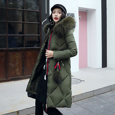 Dettagli su Giacca donna piumino cappuccio cappotto comodo caldo elegante lungo verde 1273