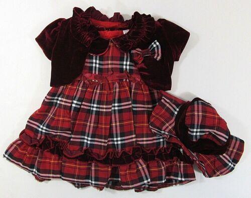 Baby Girls Dress Red Velvet Tartan Bolero Hat Formal Party Christmas Xmas 50