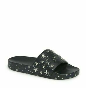 739494854 TORY BURCH STAR SLIDE SANDAL NAVY   SILVER NAPA LEATHER WOMEN S SIZE ...