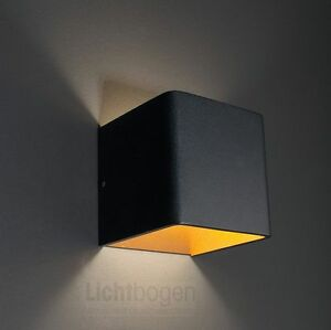 wandleuchte novel led 6w 3000k 438lm ip20 aussen schwarz innen gold moltoluce ebay. Black Bedroom Furniture Sets. Home Design Ideas