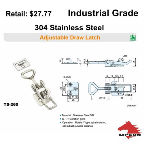 Industrial Grade Adjustable 24-304 Polished Stainless Steel Toggle Latch