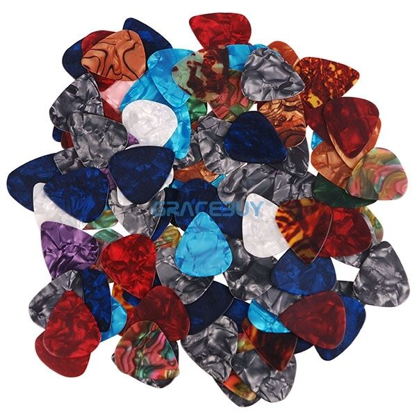 100Pcs Celluloid Pick Guitar Bass Rock Custom Plectrum Plectra 0.46 0.72 0.96