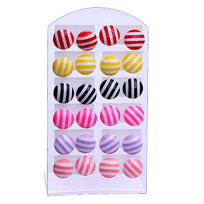 Beautiful Wholesale lots12 pairs ball Design colorful earrings stud jewelry cool
