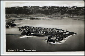 LINDAU-Bodensee-1933-AK-toller-Inselblick-aus-dem-Flugzeug-Orig-Fliegeraufnahme