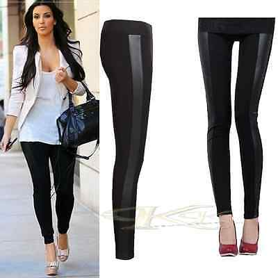 NEW WOMEN CELEBRITY WETLOOK PVC SIDE PANEL STRETCHY LEGGINGS 8-26 By K K