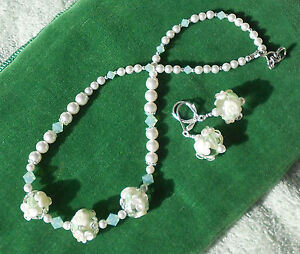BLISS-Wedding-Prom-Lampwork-White-Mint-Green-Choker-Necklace-Earring-set