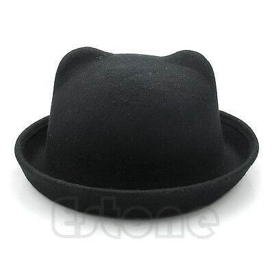 Fashion Unisex Women Parent-Child Ear Cap Derby Cat Wool Fedora Bowler Hats