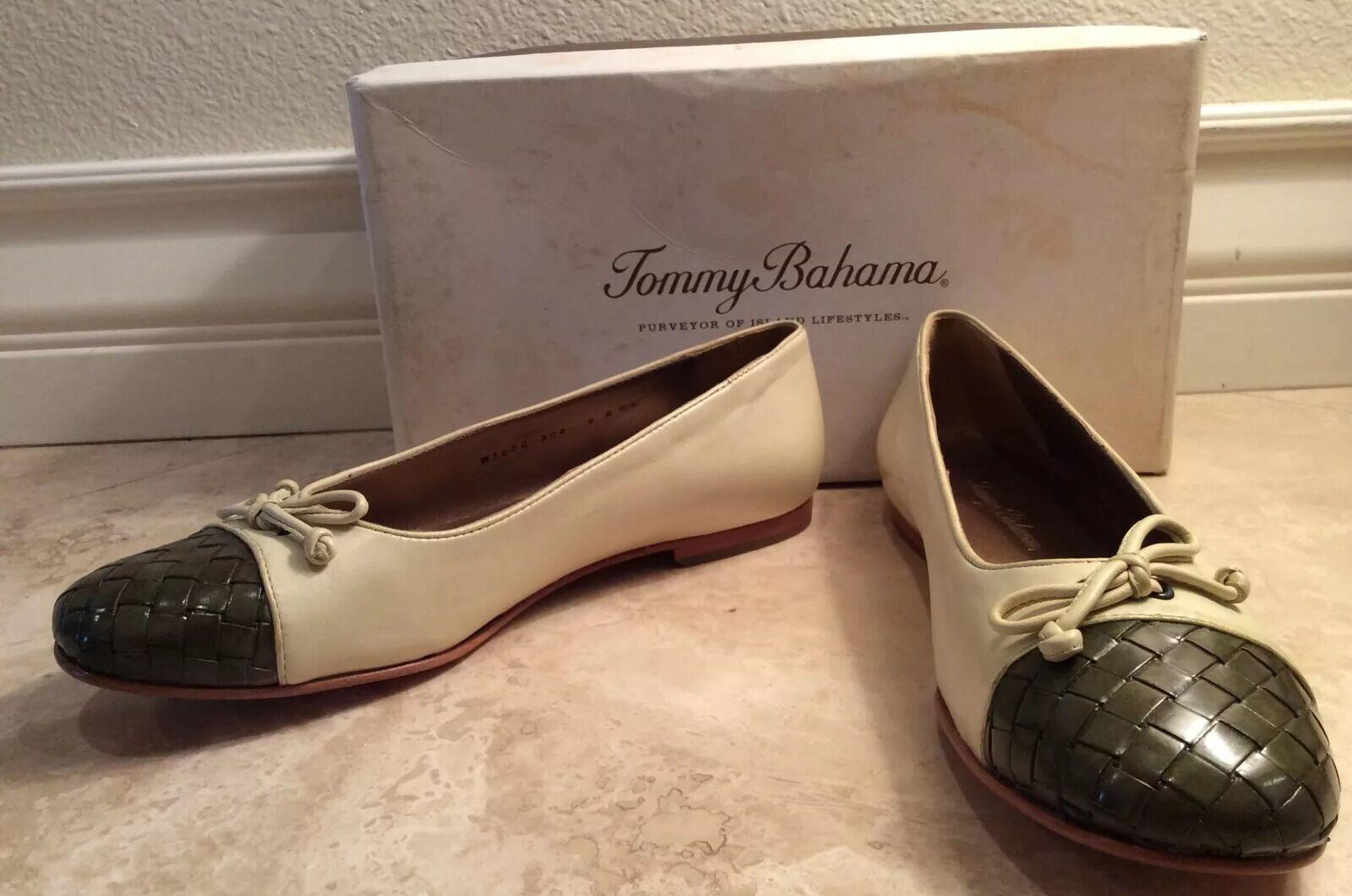TOMMY BAHAMA Cream Green St Croix Woven Cap Toe Leder Ballet Flat 8.5B NEW BOX