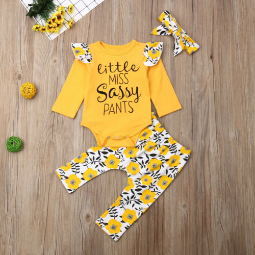 US Newborn Kid Baby Girl Clothes Sassy Dasiy Romper Top Long Pants Cotton Outfit