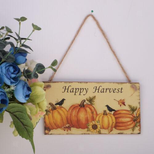Rustic Pumpkin Happy Harvest Wooden Plaque Autumn Fall Board Hanging Sign