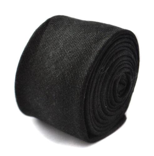 Frederick Thomas black skinny linen style tie FT1813